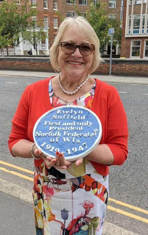 Chairman Margaret Collingwood, with Plaque